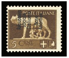 "1944 5c brown, overprinted ""Republica Sociale Italiana Base Atlantica"", l.h., usual centering, fresh and fine example of this rarity, only 200 issued (majority destroyed), signed Brun -- $ 2,500.00  2013year"