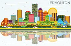 Edmonton Skyline with Color Buildings, Blue Sky and Reflections
