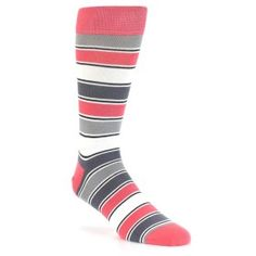Pink Grey White Stripe Men's Dress Socks by Statement Sockwear. Every purchase of Statement Sockwear socks sold helps provide 100 days of clean water for 1 person in Africa. Fits U. Men's Shoe Sizes Grey And Coral, Grey And White, Paul Smith Socks, Groomsmen Socks, Cool Socks, Men's Socks, Pink Socks, Colorful Socks, Striped Socks