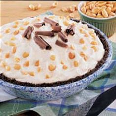 Peanut Butter Pie ***made this 12-31-12 and it was literally like biting into a piece of heaven!!! Oh my goodness! I made my own Oreo crust and added like 2Tbs of cocoa as well as chopped Reese's cups. Mmmmmmmmmmmm...