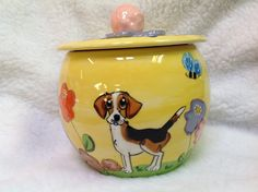 Hand Painted Ceramic Treat Jar /  Cookie Jar / Whimsical dog / Beagle / Custom Dog Art / Debby Carman / Faux Paw Productions by FauxPawProductions on Etsy