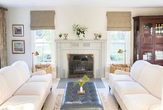 Long Island refined country living room (BM Timid White) - home of designer Hadley Wiggins-Marin