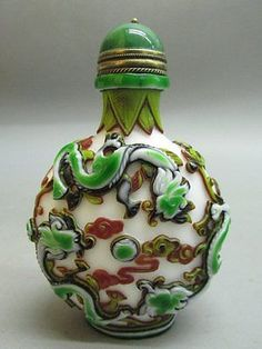 Chinese Fine Six Dragon Carved Peking Overlay Glass Snuff Bottle