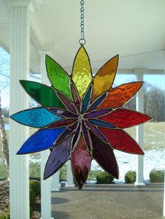 Stained Glass Starburst Window Panel Suncatcher by TheGlassShire, $48.00