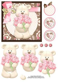 Cute Bear Hugs Square Quick Card Front Ladies on Craftsuprint designed by Karen MacKellar - Sweet little bear holding a bunch of flowers card-suitable for variety of female occasions. Sentiment tags saying Happy Mother's Day, Happy Birthday and blank tag for your own message. Easy and quick to make. - Now available for download!