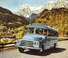 An Opel vacation | Opel Blitz Omninus, 1950s |  Ramsau, Berchtesgadener Land, Bavaria. Location identified by Goldschleife. We can see the Ramsau church on more photos in my vintage Opel sets.