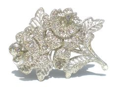 Little Nemo Vintage Rhinestone Brooch with White by RibbonsEdge