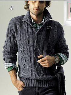 Мужской вязаный джемпер с застежкой поло - Джемперы, пуловеры для мужчин - Галерея - Knitting Forum.Ru Polo Sweater Mens, Sweater Cardigan, Knit Fashion, Sweater Fashion, Mens Jumpers, Hand Knitted Sweaters, Knit Jacket, Winter Sweaters, Cable Knit
