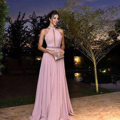 vestido de festa rosa claro