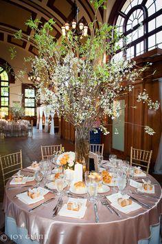 #Blooming branch centerpiece. #Vintage wedding flowers &'decor by teresaferrando.com. Joy Glenn Photography.