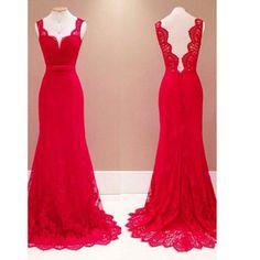 Mermaid Prom Dresses, Lace Red Long Prom Dresses,Evening Dresses,Floor Length Prom Dresses #promdresses #SIMIBridal