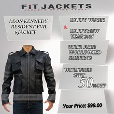 """LEON KENNEDY RESIDENT EVIL 6 JACKET The most demanded gaming costume of Leon S.Kennedy Jacket from the famous video game """"Resident Evil 6"""" is on super hot New Year Winter Sales with free shipping worldwide!! Also avail free sunglasses on every order!!  #winterseason #LeatherJacket #ResidentEvil6 #LeonSKennedy #LeatherOutfit #MensCoat #MovieJacket #Fashion #MensOutfit #MensFashion #clothing #Costume #Sale #StyleMens #ChristmasSale #WinterCostume #MensClothing"""