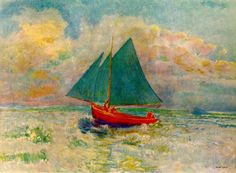 endlessquestion: Odilon Redon - Red Boat with Blue Sail, 1907, oil on canvas
