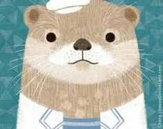 Mr. Otter - 12 x 12 Art Print