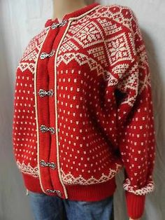 Vintage Women's Dale of Norway Red White w Pewter Clasps Cardigan Sweater 42 Cardigan Sweaters For Women, Black Sweaters, Sweater Cardigan, Norwegian Knitting, Fair Isle Knitting, Black White Red, Sweater Design, Work Inspiration, Crochet Clothes