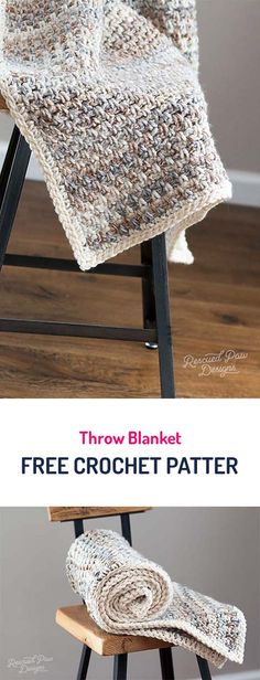 Throw Blanket Free Crochet Pattern #crochet #diy #crafts #homedecor