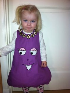 Cute, cute Barba-pappa costume for a little girl. Comfy and adorable!