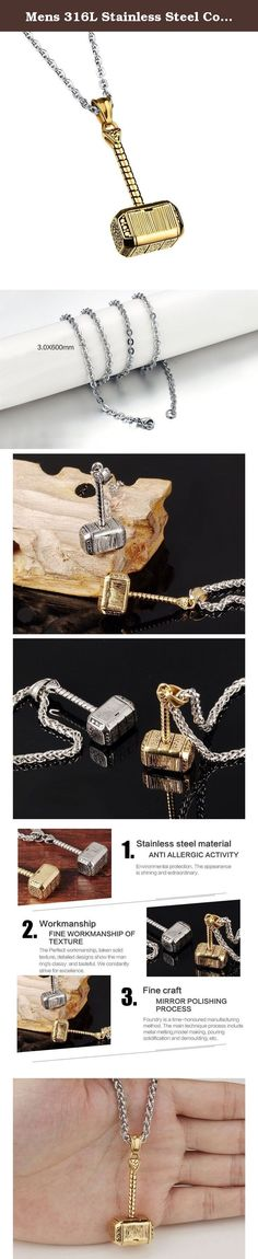 Mens 316L Stainless Steel Cool Looking Hammer Pendant Necklace 19.7inch. Why choose 316L stainless steel jewelry? 1. It doesn¡¯t tarnish or oxidize, which can last longer than other jewelries. 2. It is hypoallergenic. Anyone can wear it without concern. 3. It is high quality, high resistance to rust and corrosion. 4. It is very hard and can endure much pressure .