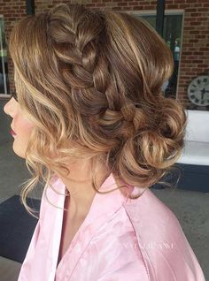 Wedding Hairstyles Updo French Braid into a Messy Low Bun Prom Hair - Need inspiration for gorgeous prom hairstyles for long hair? Don't worry, we've found 27 designs we think you might fall a little in love with. Easy Bun Hairstyles, Prom Hairstyles For Long Hair, Graduation Hairstyles, Homecoming Hairstyles, Wedding Hairstyles, Teenage Hairstyles, Gorgeous Hairstyles, Latest Hairstyles, Short Prom Hair