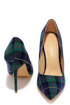 Who's Plaid! Green Plaid Pumps