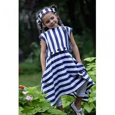 KidCuteTure Girl Navy White Nautical Stripe Buttons Dress Size 2-16