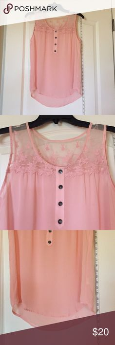 Sheer Pink tank blouse Never worn. NWOT Forever 21 Tops Tank Tops