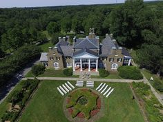 Overview of wedding at Glenview Mansion. Ceremony on front lawn, set up in gardens(to the right) and reception inside. Glenview Mansion, Center Park, Formal Gardens, Aerial Photography, Lawn, Mansions, Landscape, House Styles, Places