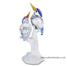 Swarovski Crystal Figurines | Swarovski 623323 Malachite Kingfishers Crystal Figurine