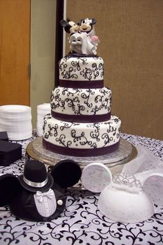 Mickey & Minnie Mouse Wedding Cake Topper LOT Glasses Knife Book ...
