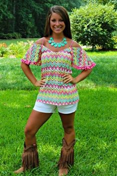 Tequila Sunrise Voom Top in Pink! $72.99! #SouthernFriedChics