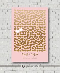 Unique Wedding Guest Book Print - Bridal Showers - Pink and Gold Wedding Gift - Wedding Poster - Sweetheart Wedding Sign In - Wedding Decor