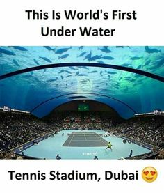 Underwater tennis stadium in Dubai because why tf not? Amazing Places On Earth, Beautiful Places To Travel, Places Around The World, Wonderful Places, Cool Places To Visit, Around The Worlds, Vacation Places, Dream Vacations, Interesting Facts About World