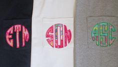 Lilly Pulitzer monogram pocket t-shirt. $21.00, via Etsy.