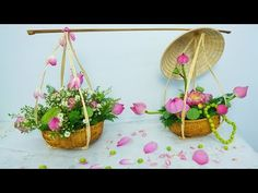 Decor Lotus flower arrangement with a yoke of Bamboo Wedding Flower Decorations, Wedding Flowers, Floral Arrangements, Flower Arrangement, Bamboo Garden, Diy Flowers, Lotus Flower, Plant Hanger, House Warming