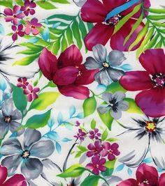 Jo-Ann Stores Tropical Shirting Lovely Watercolor. Would love to sew a ruffle bottom apron from this.