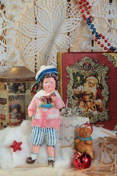 """Купить Ватная игрушка """" Мальчик с лошадкой"""" - розовый, ватная елочная игрушка, ватная игрушка"""
