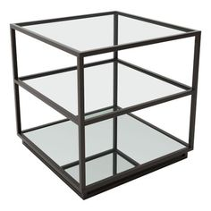 Kure End Table in Distressed Black - Zuo Modern modern mix of clean lines with a distressed finish make this square end table perfect for any living space. Slim and architectural, the top two glass shelves are clear and the bottom shelf is mirrore Distressed End Tables, Glass End Tables, Sofa Tables, Coffee Tables, Mirror With Shelf, Mirror Shelves, High Fashion Home, Glass Shelves, Black Glass