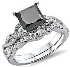 #blackdiamondgem 1.50ct Black Princess Cut Diamond Engagement Ring Bridal Set 14k White Gold by Front Jewelers - See more at: http://blackdiamondgemstone.com/jewelry/wedding-anniversary/bridal-sets/150ct-black-princess-cut-diamond-engagement-ring-bridal-set-14k-white-gold-com/#!prettyPhoto