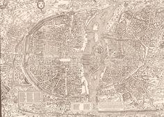 """Vers 1550 - """"Plan de Bâle""""  Olivier Truschet & Germain Hoyau  """"Ici est le vray pourtraict naturel de la ville, cité université & faubourgz de Paris"""""""