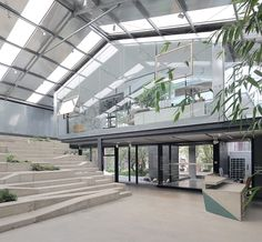 o-office renovates work studio in a plant house with glass and steel