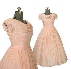 SALE 1950s Vintage Pink Chiffon Wedding Dress by ArtifactVintage.