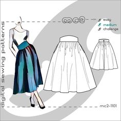 A-Line Peasant Skirt with Shaped Waistband & Side Pockets/ Digital PDF Sewing Patterns by mc2patterns