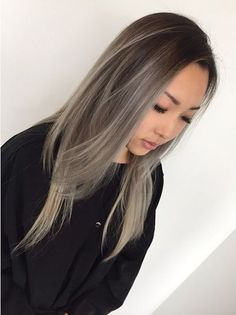 balayage asian gray hair