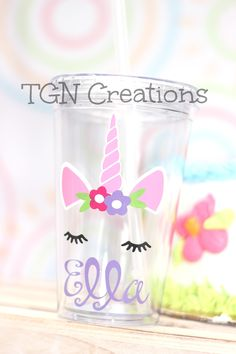 Unicorn party cups are the perfect touch for your celebration. They make great party favors or birthday gifts for a special little princess. Cups are personalized with a name in fun whimsical letters. Get yours today at tgncreations.ety.com