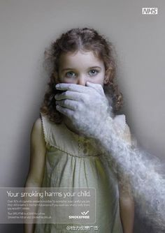 Advertisement of  No-smoking Your smoking harms your child
