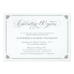 Shop Formal Anniversary Invitations created by UniqueInvites. Personalize it with photos & text or purchase as is! 60th Anniversary Parties, 60 Wedding Anniversary, Wedding Anniversary Invitations, Custom Wedding Invitations, Zazzle Invitations, Invitation Cards, Anniversary Ideas, Invitation Ideas, Wedding Stationary