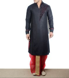 Black and red linen kurta #dhoti set designed by #AbhishekDutta