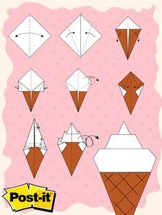 Origami con Notas Post-it®: Helado Click a la imagen para descargar las instrucciones