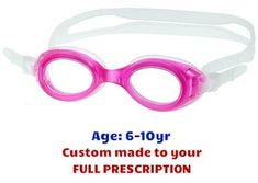 9e0ff946bdb Kids prescription swim Goggles S7 Pink with Lenses made to your exact  prescription! 3 colors