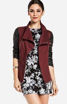 Leatherette Sleeve Twill Jacket in Burgundy | DAILYLOOK
